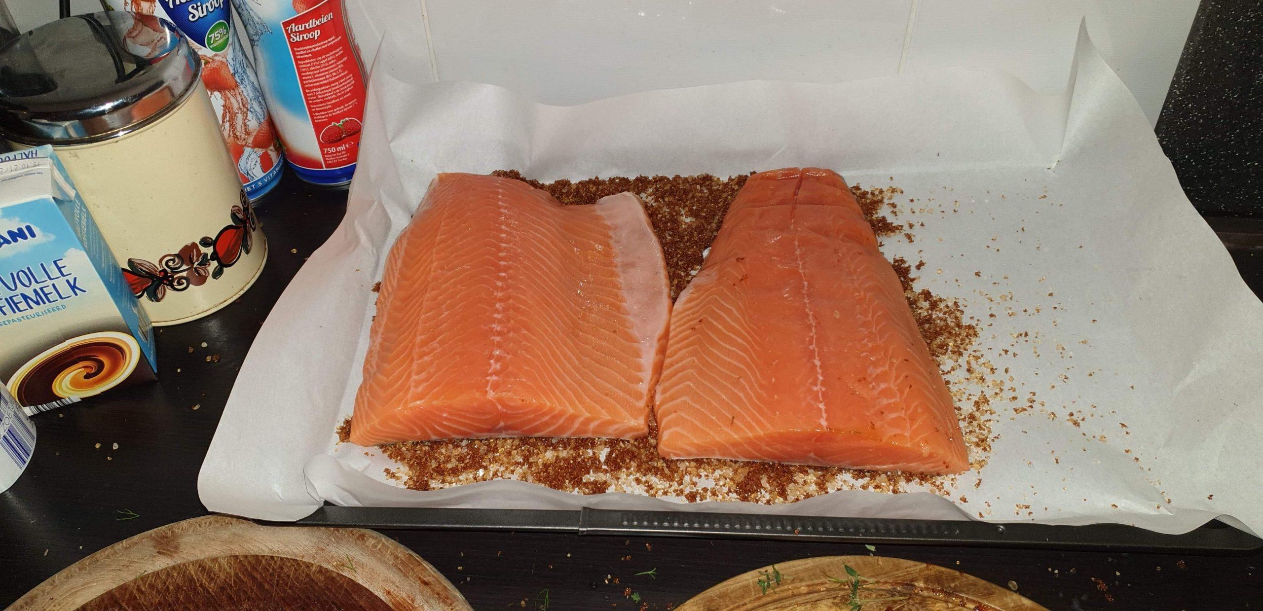 zalmzijdes met grof zeezout velkant